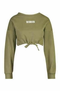 Womens Premium Cropped Ruched Hem Embroidered Sweatshirt - green - L, Green