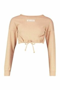 Womens Premium Cropped Ruched Hem Embroidered Sweatshirt - beige - M, Beige