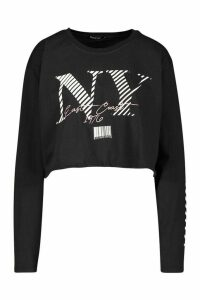 Womens NY Graphic Slogan Ruched Drawcord Hem Top - black - S, Black