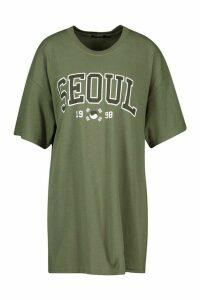 Womens Seoul Slogan Print T-Shirt - Green - S, Green