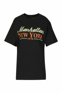 Womens Manhattan New York Slogan T-Shirt - black - L, Black