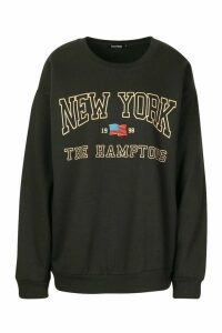 Womens New York Slogan Sweatshirt - black - M, Black