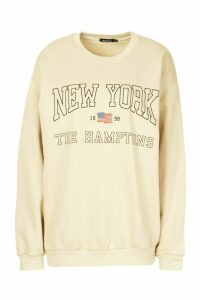 Womens New York Slogan Sweatshirt - Beige - M, Beige