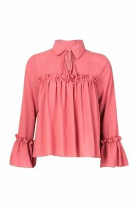 Womens Tie Front Ruffle Detail Woven Smock Top - pink - 12, Pink