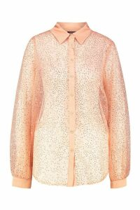 Womens Sequin Organza Balloon Sleeve Shirt - Pink - 12, Pink