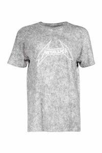 Womens Acid Washed Licensed Metallica T-Shirt - grey - M, Grey