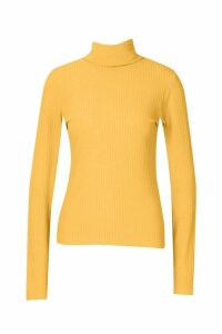 Womens Soft Rib Roll Neck Top - yellow - 12, Yellow