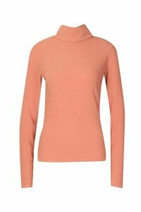 Womens Soft Rib Roll Neck Top - orange - 8, Orange