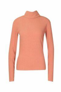 Womens Soft Rib Roll Neck Top - Orange - 12, Orange