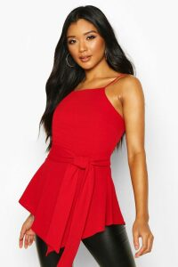Womens Crepe Tie Front Asymmetric Top - red - 16, Red