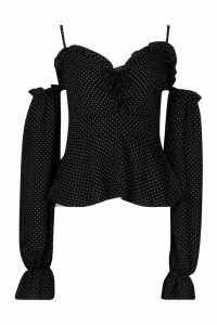 Womens Polka Dot Lace Up Peplum Top - black - 14, Black