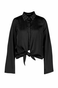 Womens Satin Embellished Collar Tie Front Shirt - black - 14, Black