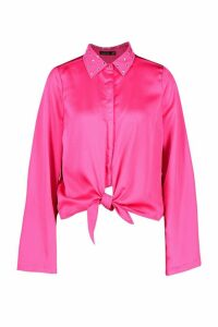 Womens Satin Embellished Collar Tie Front Shirt - Pink - 14, Pink
