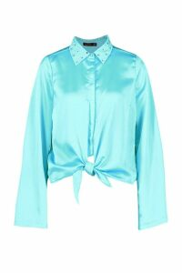 Womens Satin Embellished Collar Tie Front Shirt - blue - 14, Blue