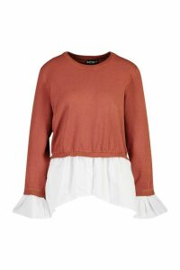 Womens Knitted 2 In 1 Shirt Jumper - brown - M, Brown