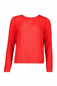 Womens Woven Knot Back Long Sleeve Blouse - red - 6, Red