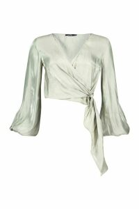 Womens Metallic Satin Balloon Sleeve Wrap Blouse - green - 14, Green