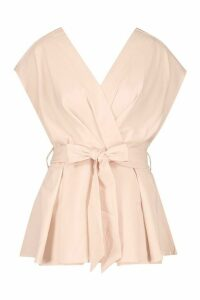 Womens Wrap Front Belted Blouse - pink - 10, Pink