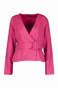 Womens Buckle Detail Wrap Top - pink - 14, Pink