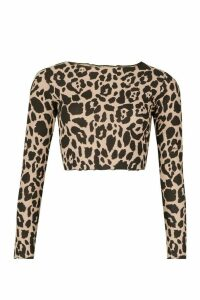 Womens Animal Print Long Sleeve Lettuce Hem Top - Brown - 4, Brown