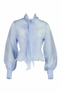 Womens Organza Blouse - blue - 16, Blue