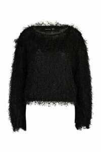 Womens Feather Knit Jumper - black - 14, Black