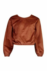 Womens Cord Oversized Sweat Top - brown - 14, Brown