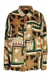 Womens Chain Print Oversized Shirt - green - 6, Green