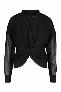 Womens Twist Front Woven Blouse - black - 16, Black