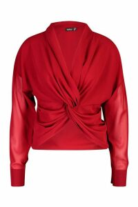 Womens Twist Front Woven Blouse - red - 14, Red