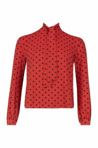 Womens Pussy Bow Polka Dot High Neck Blouse - orange - 10, Orange
