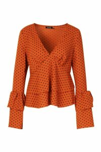 Womens Polka Dot Ruffle Sleeve Top - orange - 8, Orange