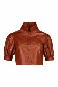 Womens Pu Button Front Volume Sleeve Cropped Blouse - brown - 12, Brown