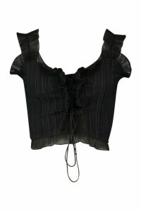 Womens Crinkle Ruffle Detail Lace Up Bralet Top - black - XL, Black