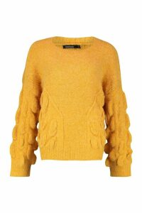 Womens Oversized Bobble Knit Jumper - orange - S/M, Orange
