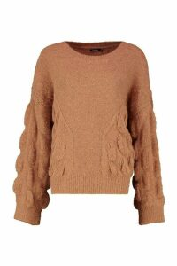 Womens Oversized Bobble Knit Jumper - Beige - M/L, Beige