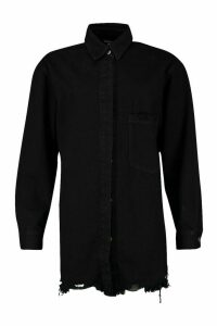 Womens Longline Oversized Ripped Hem Denim Shirt - black - 10, Black