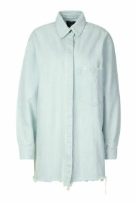 Womens Longline Oversized Ripped Hem Denim Shirt - Blue - 12, Blue