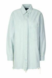 Womens Longline Oversized Ripped Hem Denim Shirt - Blue - 10, Blue