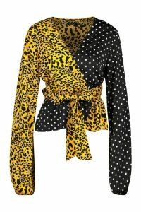 Womens Mix & Match Animal Wrap Top - black - 16, Black