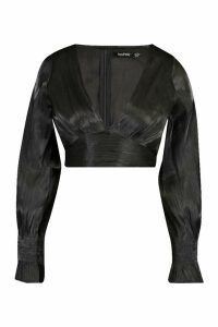 Womens Satin Balloon Sleeve Crop Top - black - 12, Black