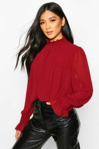 Womens Shirred Neck Cuff Smock Top - 8, Red