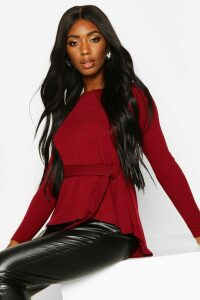 Womens Jumbo Rib Hem Peplum Long Sleeve Top - red - 14, Red
