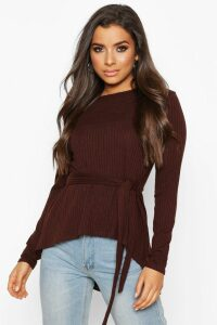 Womens Jumbo Rib Hem Peplum Long Sleeve Top - brown - 14, Brown