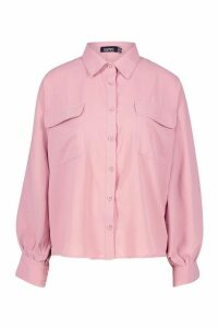 Womens Woven Oversized Long Sleeve Shirt - Pink - 14, Pink