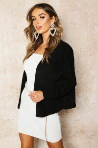 Womens Oversized Rib Cropped Cardigan - black - M/L, Black