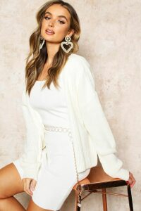 Womens Oversized Rib Cropped Cardigan - cream - M/L, Cream