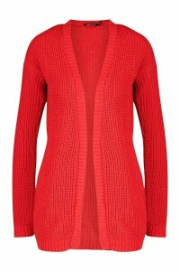 Womens Edge To Edge Waffle Knit Cardigan - red - S/M, Red
