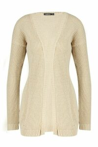 Womens Edge To Edge Waffle Knit Cardigan - beige - S/M, Beige