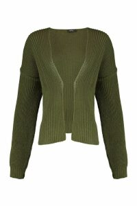 Womens Oversized Rib Cropped Cardigan - green - M/L, Green